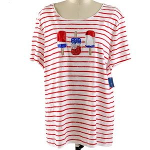 Karen Scott Shirt Striped Americana Tee Bling 3X